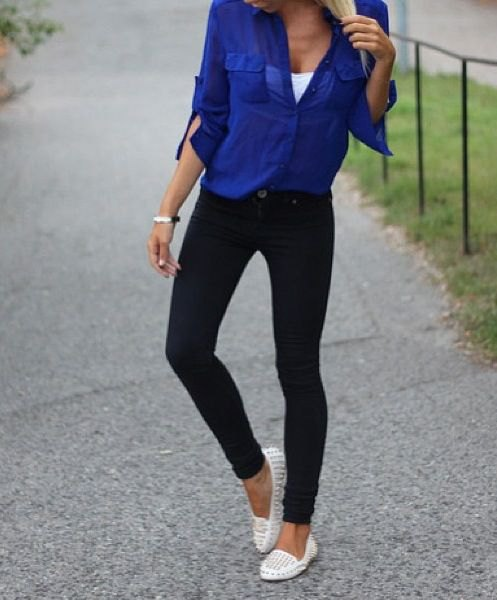studded white loafers royal blue shirt black skinny jeans