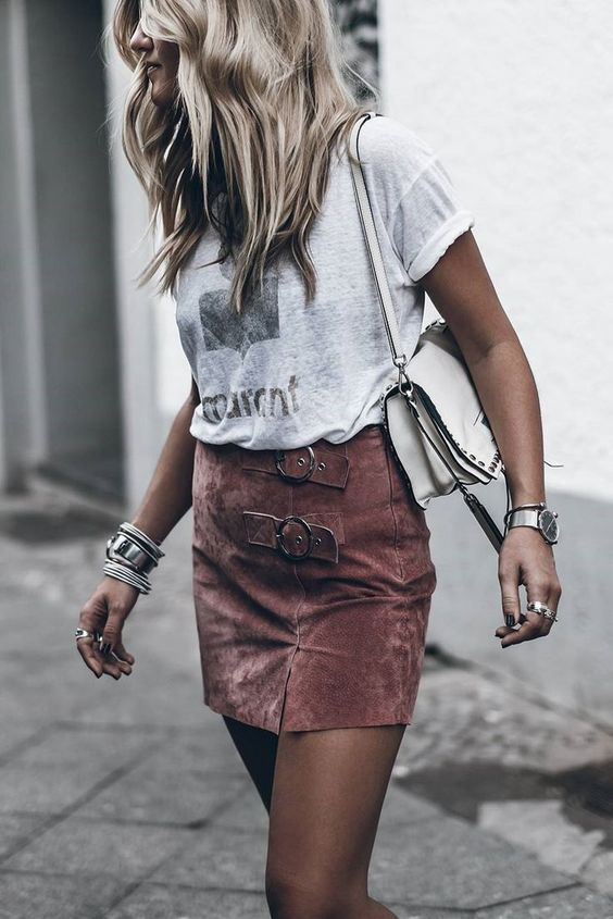 suede skirt blush pink