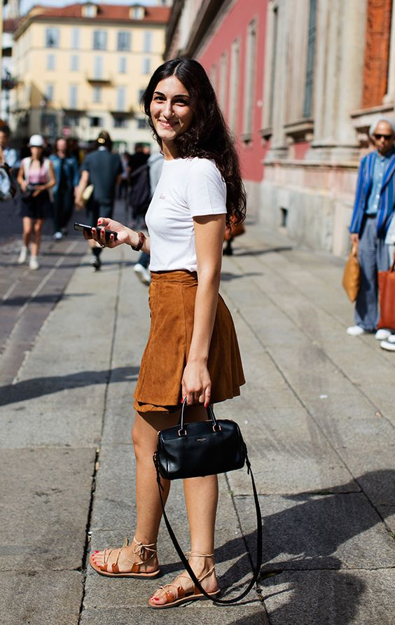 suede skirt brown white