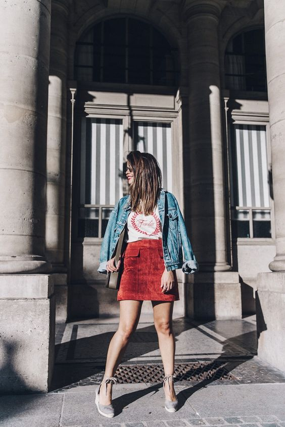 suede skirt red mini