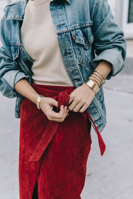 suede skirt red wrap