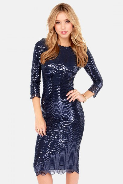 three quarter sleeve bodycon sequin dress