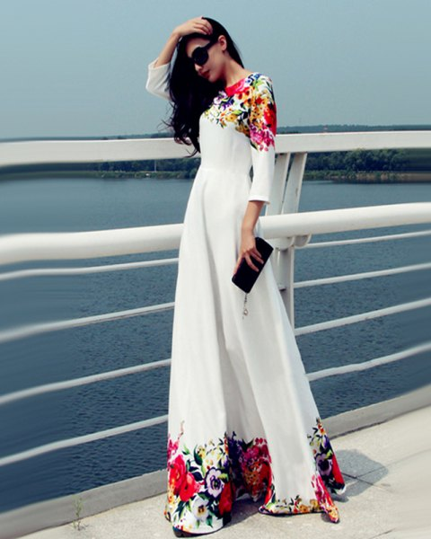 three quarter white floral maxi dress