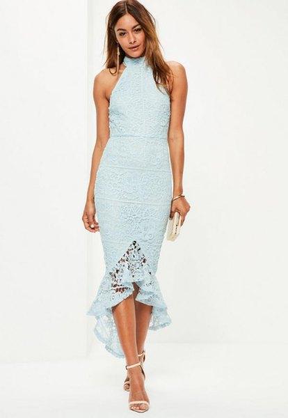 tiffany blue halter midi fishtail dress