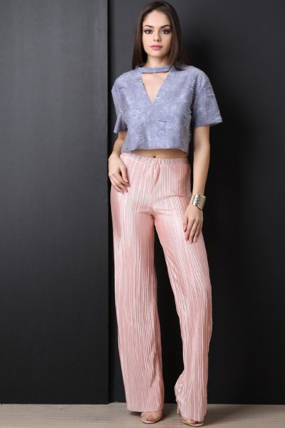 tiffany blue v neck cropped top pink pleated palazzo pants