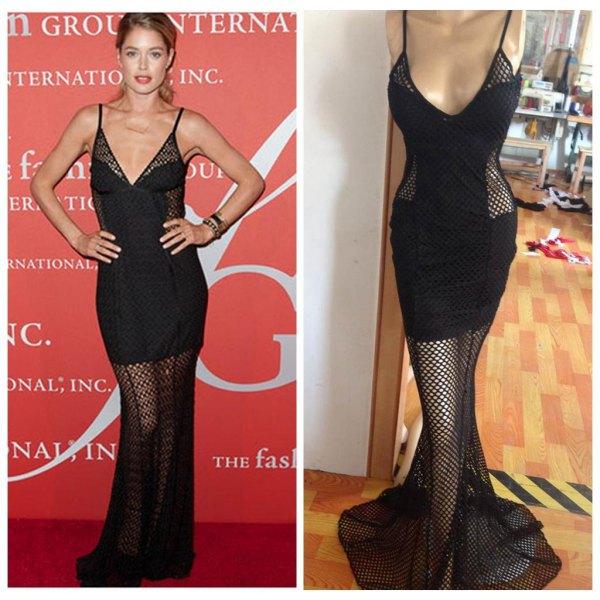 two layer mermaid dress fishnet overlay