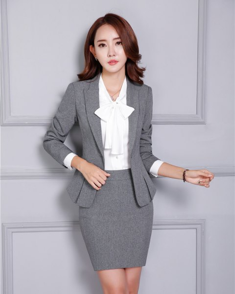 two piece set grey blazer pencil skirt