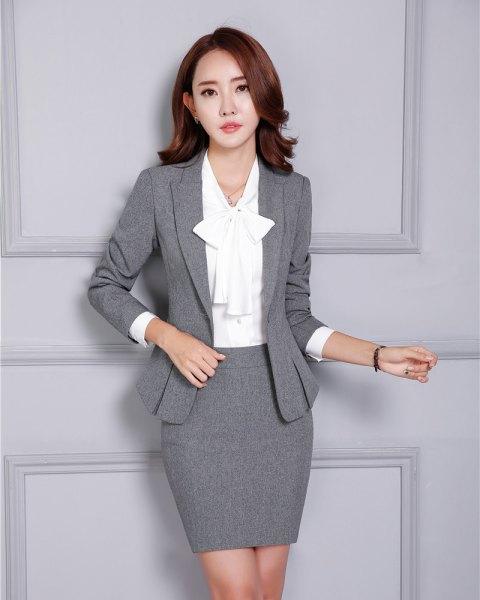 two piece set grey blazer pencil skirt