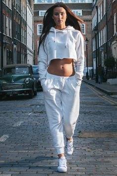 two piece set white cropped sweatshirt sweatpants
