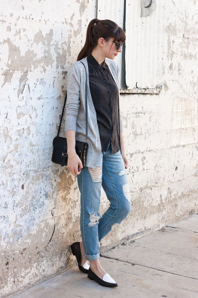 white and black loafers shirt grey cardigan