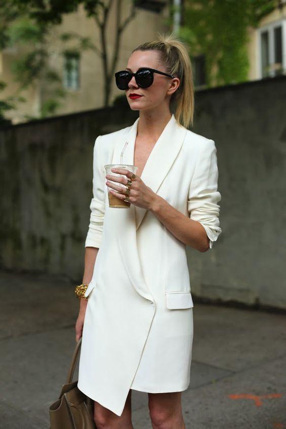 white blazer dress assymetric