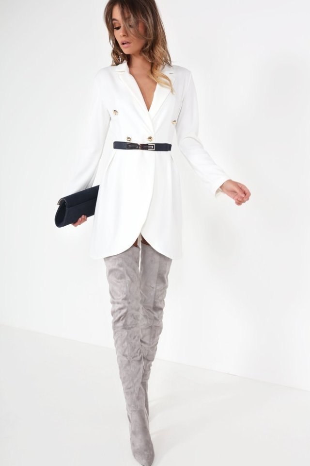 white blazer dress thigh high grey
