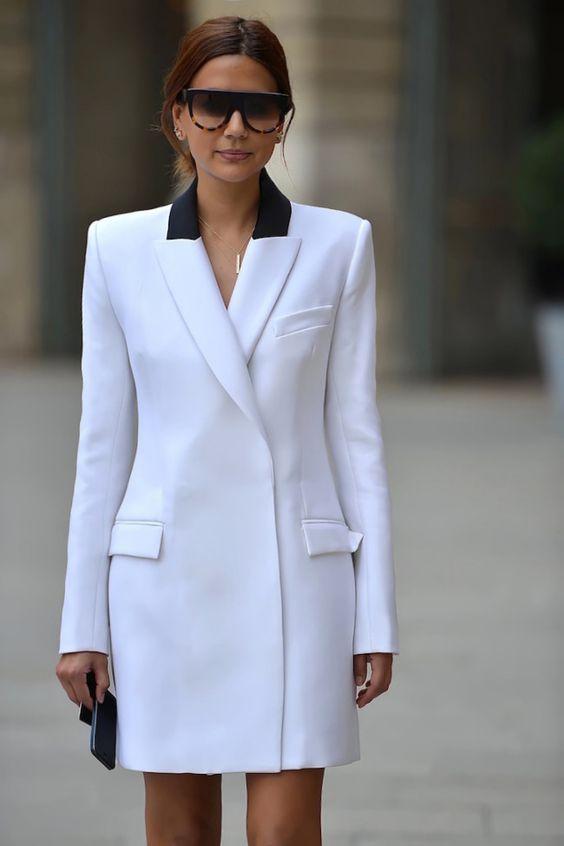 white blazer dress two shades