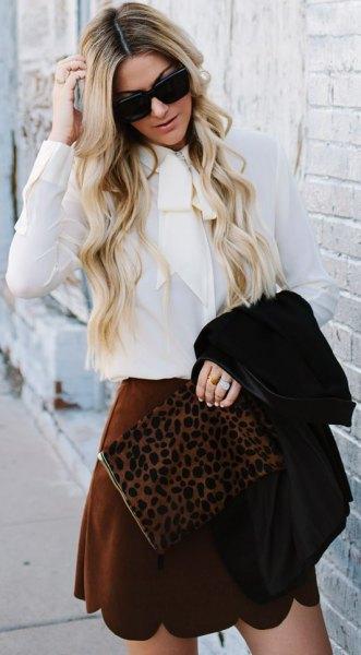 white blouse burgundy scalloped hem mini skirt