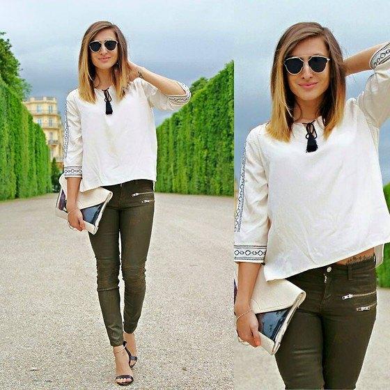 white boho blouse green skinny jeans