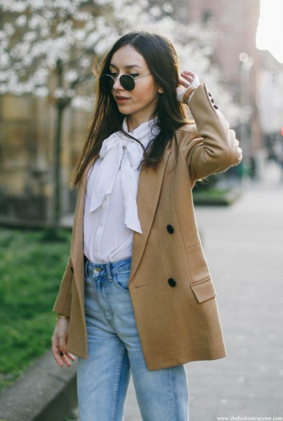 white bow blouse camel wool blazer