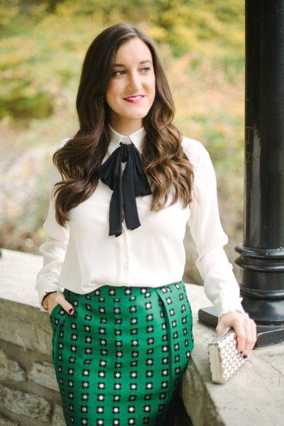 white bow shirt grey printed pencil skirt