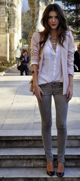 white button up shirt grey skinny jeans