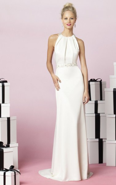 white chiffon halter long dress