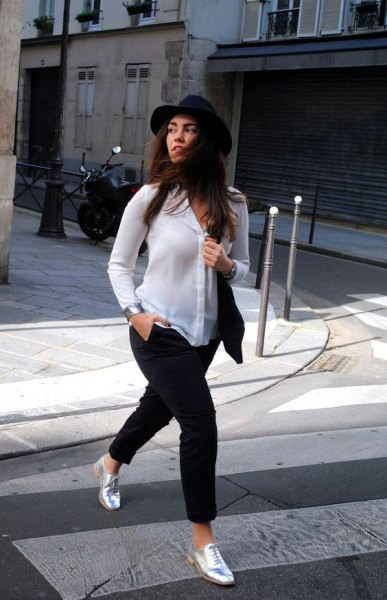 white chiffon shirt black felt hat
