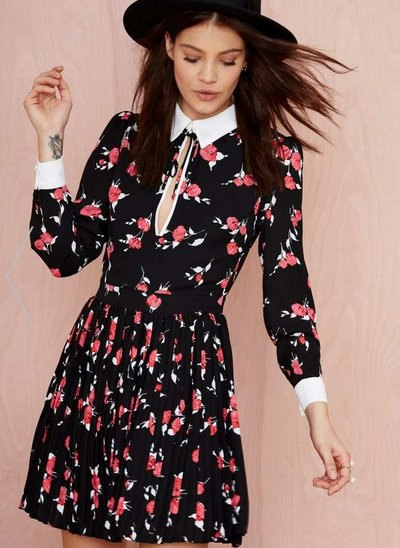 white collar navy floral long sleeve skater dress