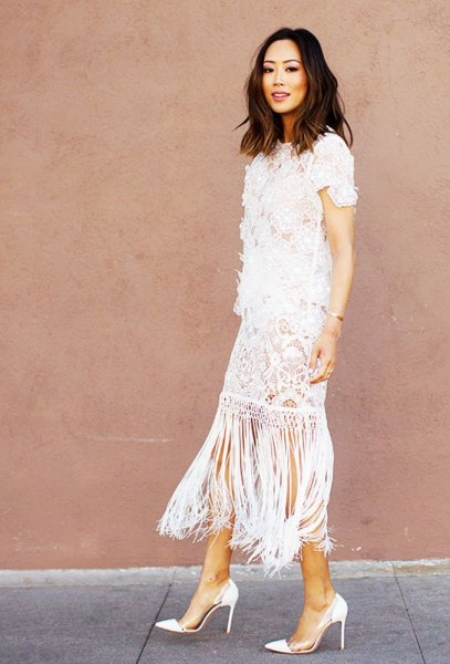 white crochet midi fringe dress