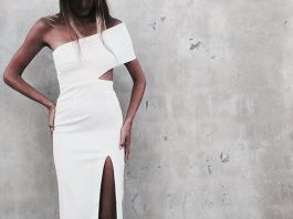 white cut out dress slited