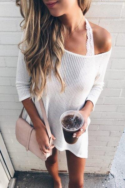 white drop shoudler sweater dress