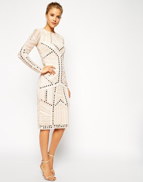 white embellished sheath knee length dress