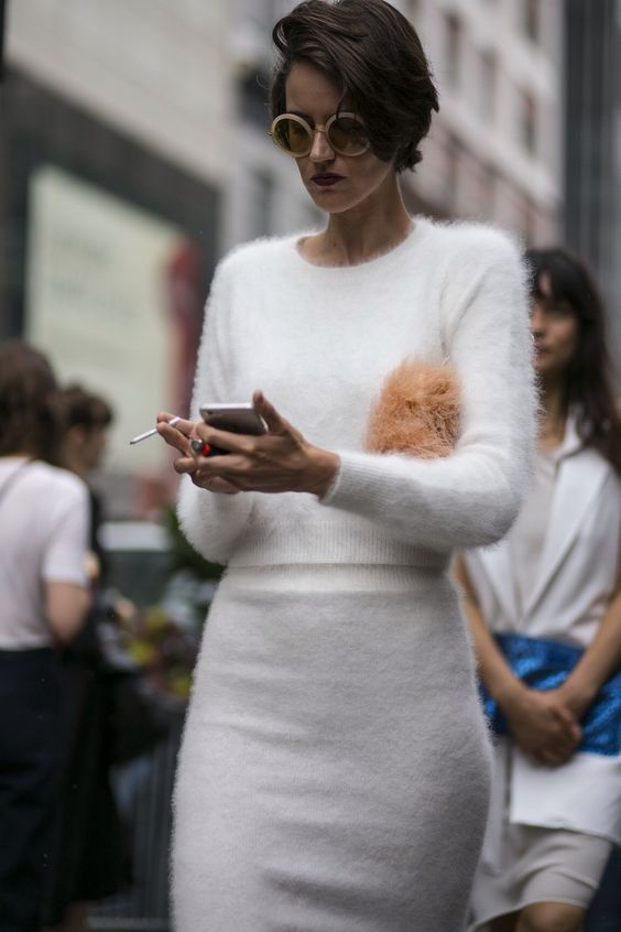 white fluffy sweater double