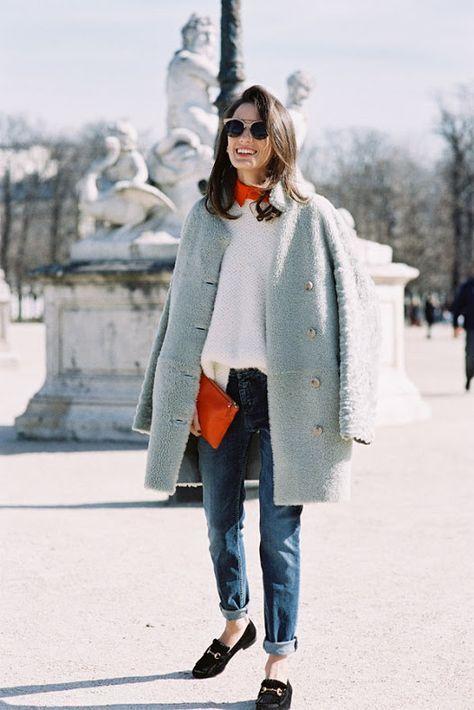 white fluffy sweater workwear