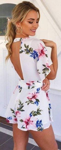 white flutter sleeve open back mini dress