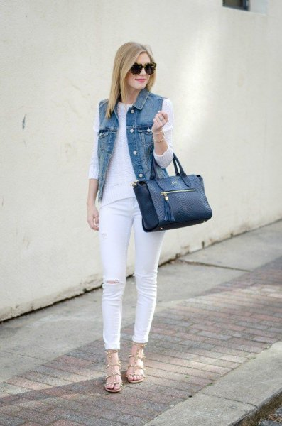 white knit sweater skinny jeans outfit