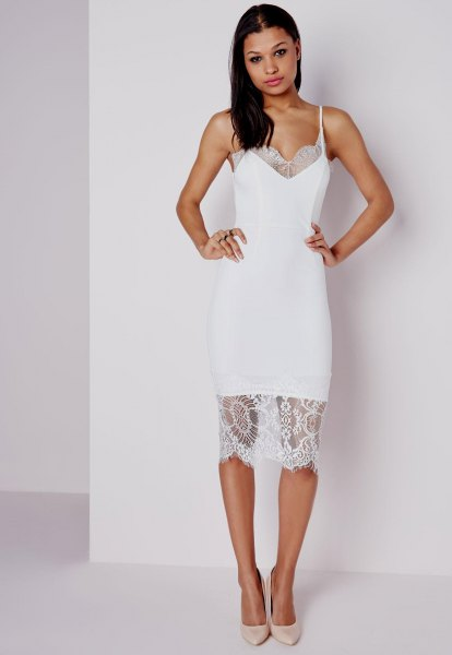 white lace midi bodycon dress