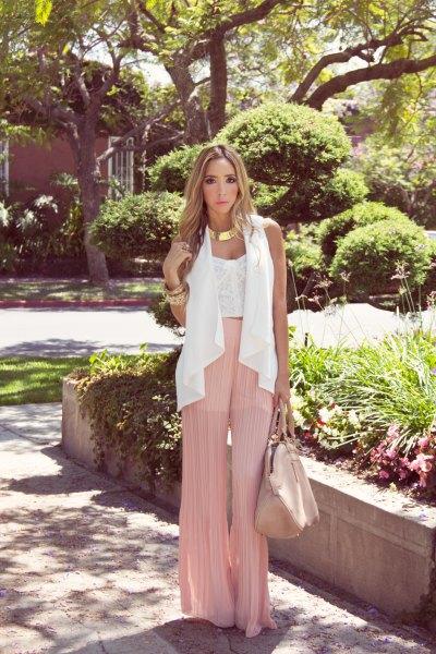 white lace top pink pants chiffon vest