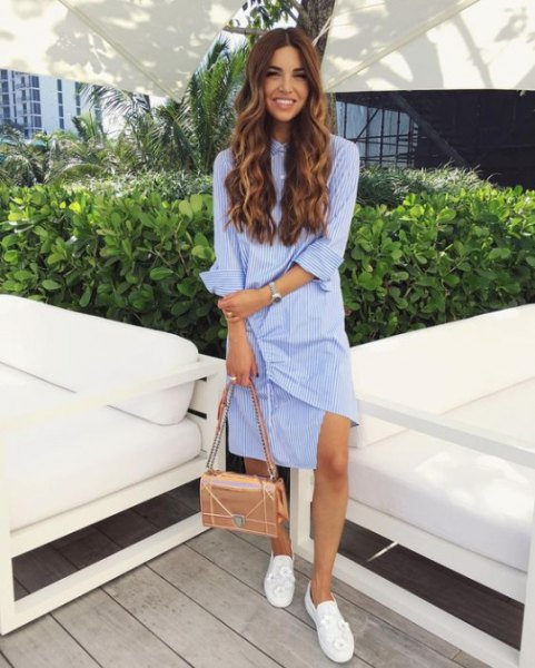 white loafers blue and white stripped knee length shirt dress
