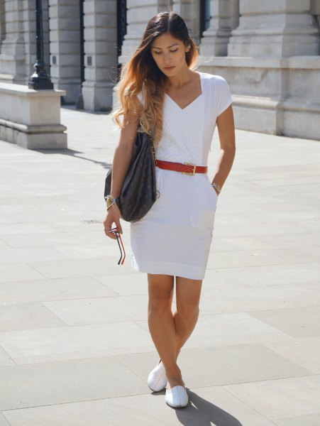 white loafers white sheath dress red belt