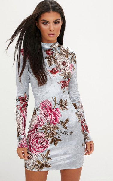 white long sleeve floral velvet bodycon dress