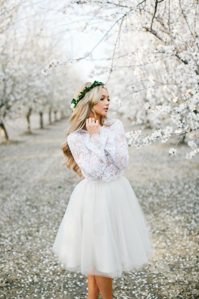 white long sleeve lace chiffon tulle dress
