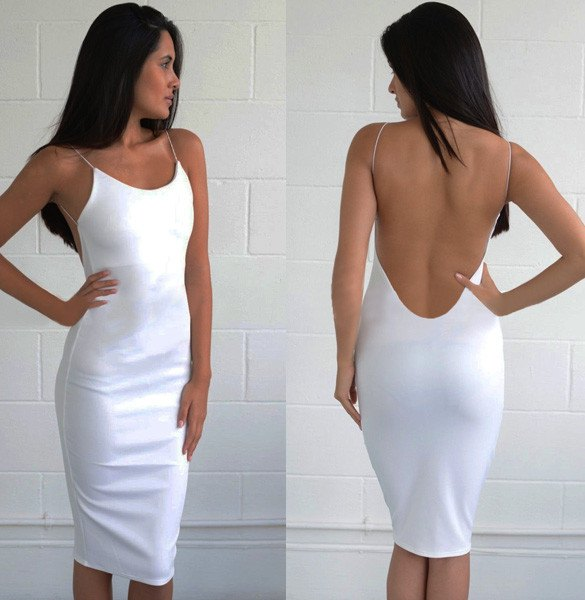 white low back bodycon midi dress