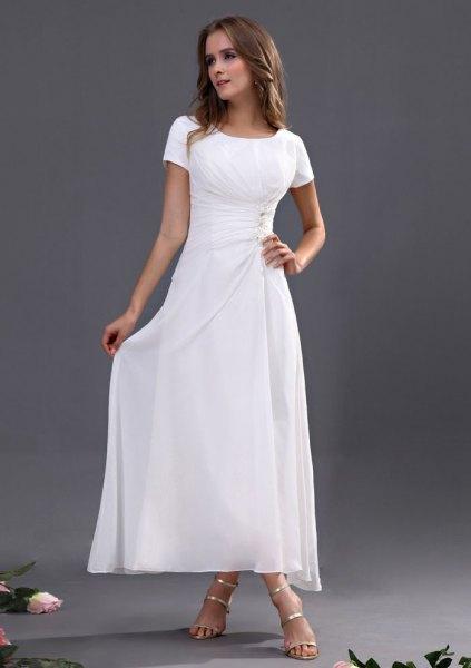 white maxi dress silver heels
