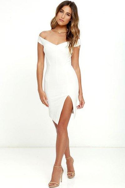 white off shoulder mini bodycon dress slit