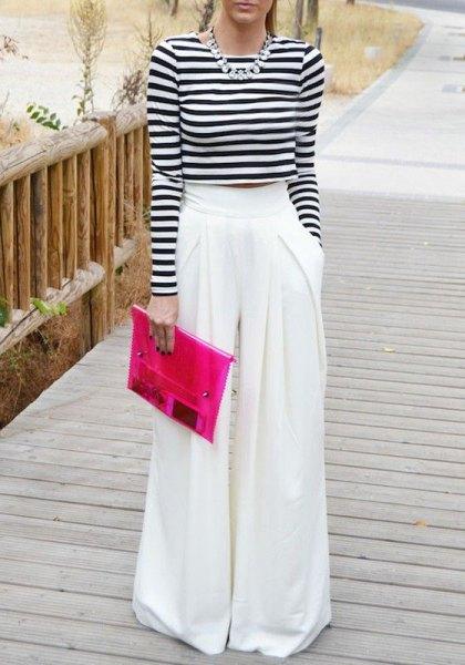 white palazzo pants long sleeve cropped striped t shirt