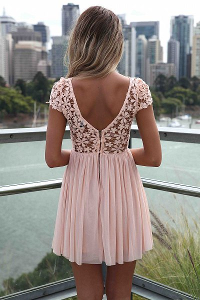 white pleated mini dress floral patterned lace
