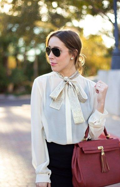 white semi sheer chiffon blouse gold bow