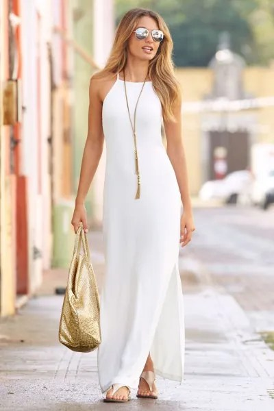 white sheath maxi dress silver heels