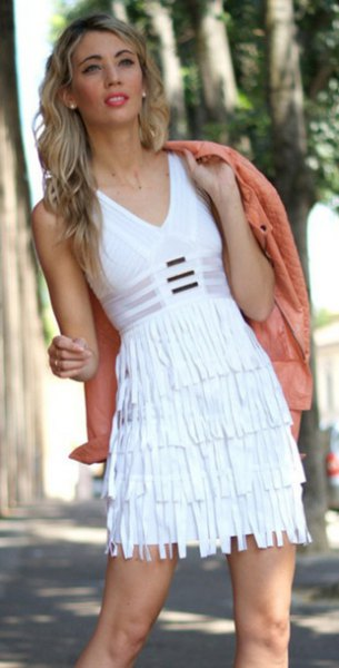 white sheath mini dress peach bomber jacket