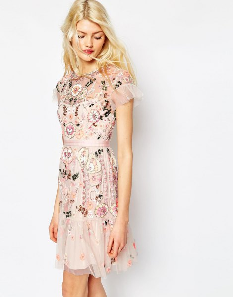 white sheer shoulder chiffon dress