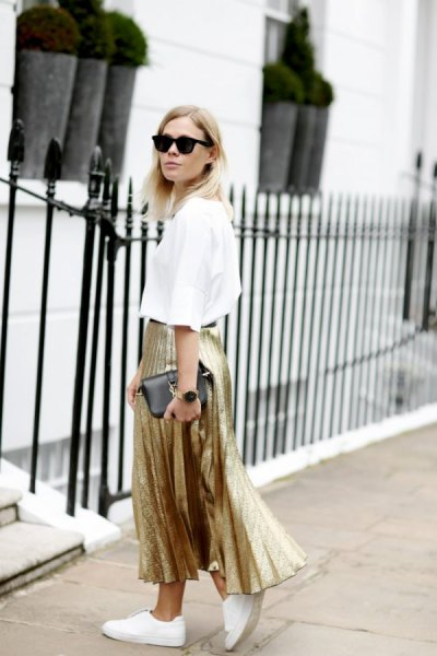 white shirt gold pleated maxi skirt
