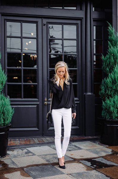 white skinny jeans black heels outfit